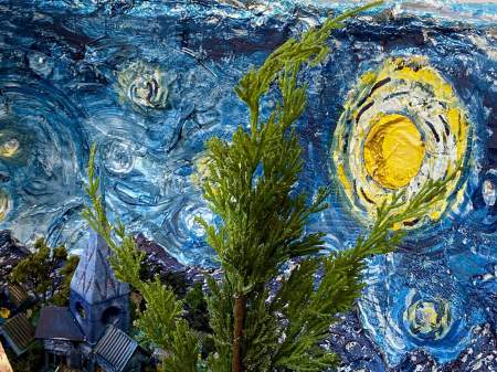 The Starry Night Geode |Interior detail with star and cypress