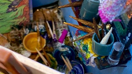 The Starry Night Geode |Interior detail with art materials