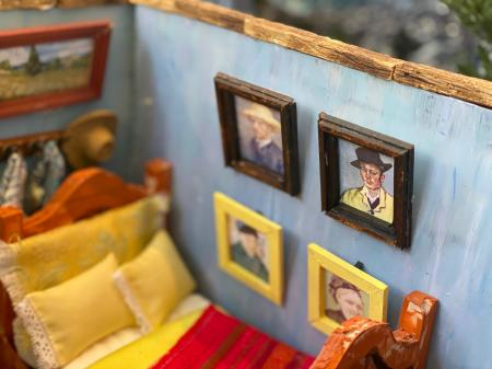 The Starry Night Geode |Interior detail with paintings above bed