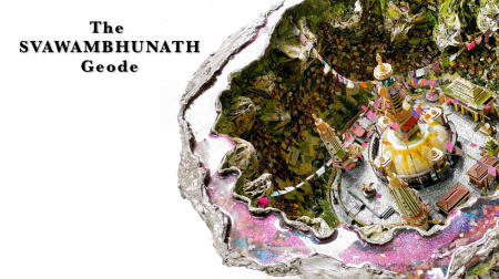 "The Svayambhunath Geode | 2018 | Multimedia construction for floor or pedestal | 15"" X 30"""