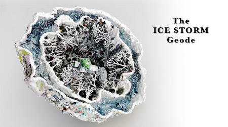 "The Ice Storm Geode | 2019 | Multimedia construction for floor or pedestal | 6"" X 13"""