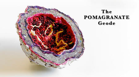 "The Pomegranate Geode | 2018 | Multimedia construction for floor or pedestal |  7"" X 13"""