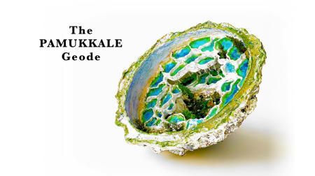 "The Pamukkale Geode | 2019 | Multimedia construction for floor or pedestal | 15"" X 29"""