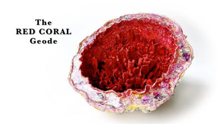 "The Red Coral Geode | 2019 | Multimedia construction for floor or pedestal | 13"" X 23"""